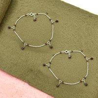 MZ AT-20158 Natural Garnet Gemstone Beaded Anklet 925 sterling Silver Handmade Gemstone Jewelry For women