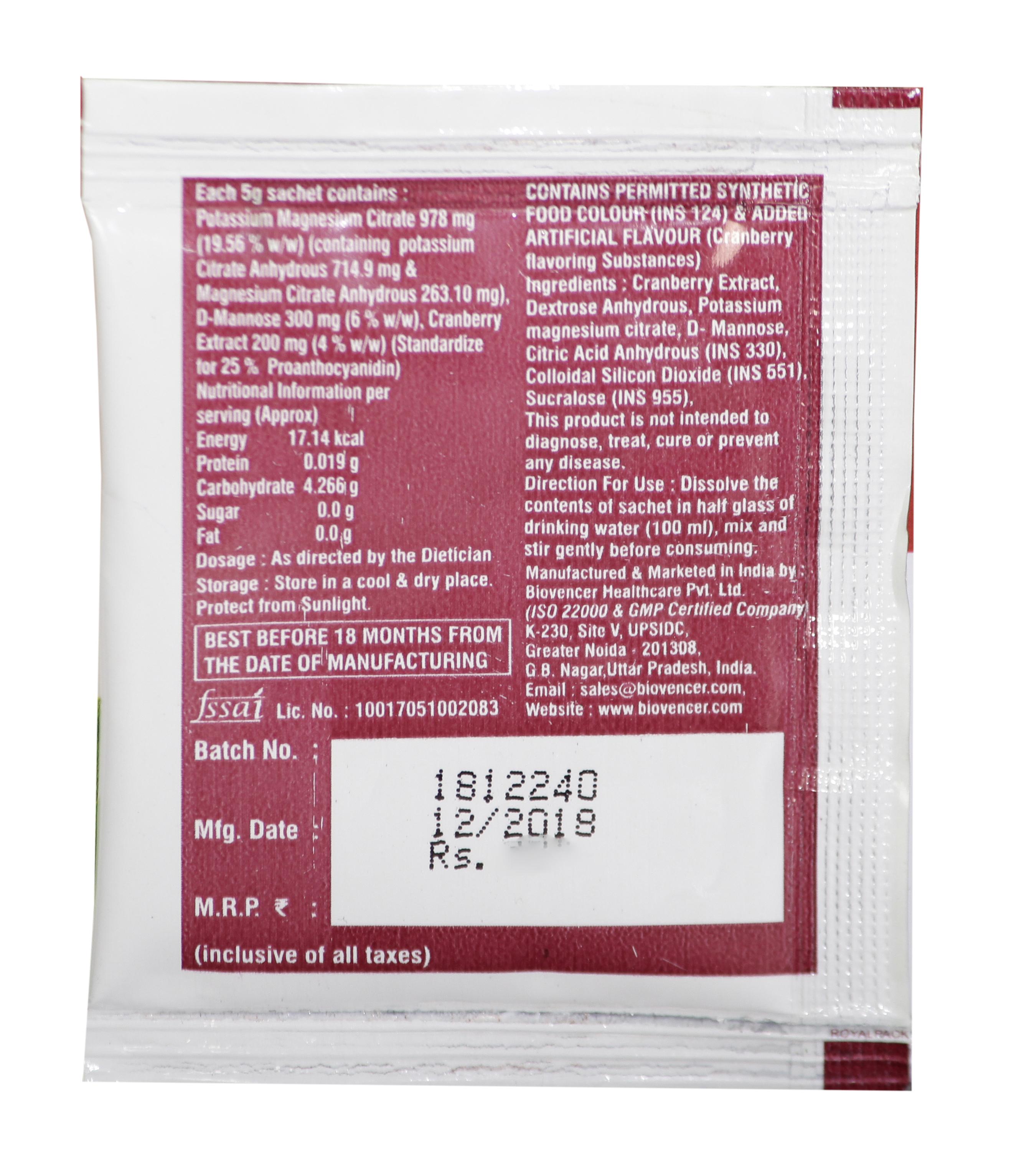 D-Mannose, Cranberry Extract, Potassium Magnesium Citrate Sachet
