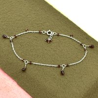 MZ AT-20159 Natural Garnet Gemstone Beaded Anklet 925 sterling Silver Handmade Gemstone Jewelry For women