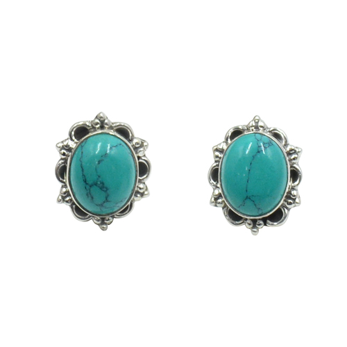 MZ ER-2502 925 Sterling Silver Natural Tibet Turquoise Oval Shape Gemstone Stud Earring For Women