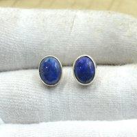 MZ ER-2505 925 Sterling Silver Natural Blue Lapis Lazuli Oval Shape Gemstone Stud Earring For Women