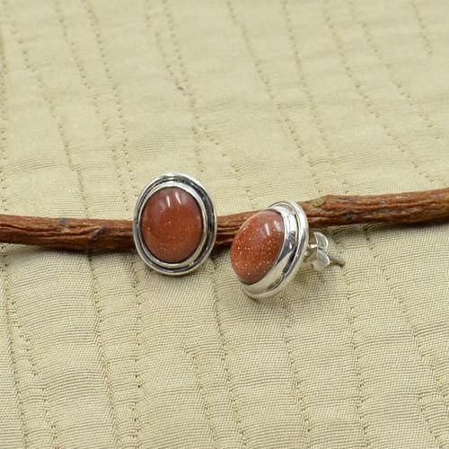 MZ ER-2506 925 Sterling Silver Natural Brown Sandstone Oval Shape Gemstone Stud Earring For Women