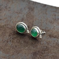 MZ ER-2509 925 Sterling Silver Natural Green Onyx Oval Shape Gemstone Post Stud Earring For Women