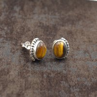 MZ ER-2511 925 Sterling Silver Natural Yellow Tiger Eye Oval Shape Gemstone Stud Earring For Women