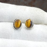 MZ ER-2511 925 Sterling Silver Natural Yellow Tiger Eye Oval Shape Gemstone Stud Earring For Women