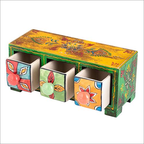 3 Drawer Wooden Cermic Storage Box