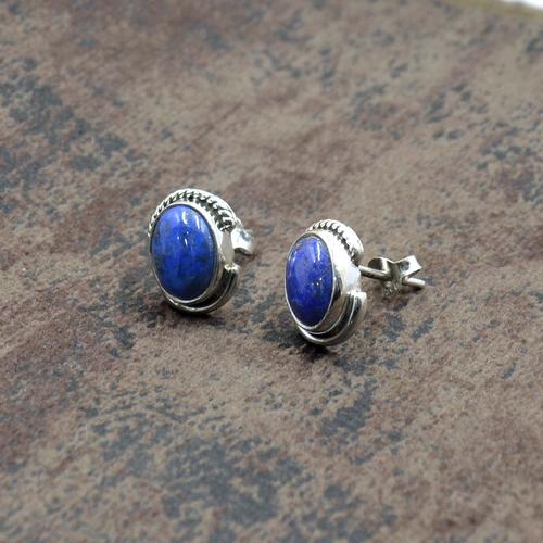 MZ ER-2512 925 Sterling Silver Natural Lapis Lazuli  Oval Shape Gemstone Stud Earring For Women