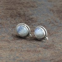 MZ ER-2515 925 Sterling Silver Natural Rainbow Moonstone Blue Fire Flashy Oval Shape Gemstone Stud Earring For Women
