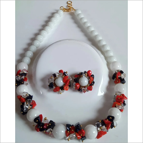White Quartz Stone Necklace With Earrings