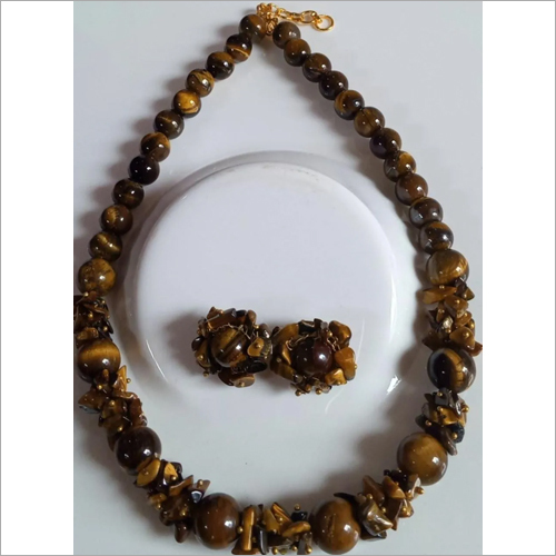 Tiger Eye Stone Necklace With Earrings