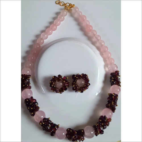 Rose Quartz Stone Necklace With Earrings