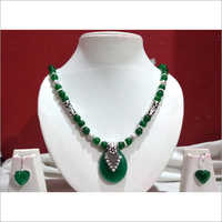 Green Jade Stone Necklace With Earring