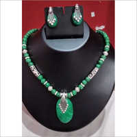Green Aventurine Stone Necklace With Earrings