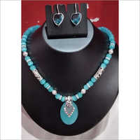 Firoza Stone Necklace With Earrings