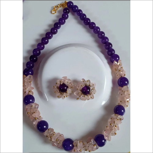 Amethyst Stone Necklace With Earrings
