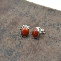 MZ ER-2517 925 Sterling Silver Natural Red Onyx  Oval Shape Gemstone Stud Earring For Women