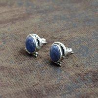 MZ ER-2518 925 Sterling Silver Natural Blue Lapis Lazuli Oval Shape Gemstone Stud Earring For Women