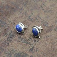 MZ ER-2520 925 Sterling Silver Natural Lapis Lazuli Oval Shape Gemstone Stud Earring For Women