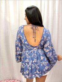 Batik Peplum Top with Stylish V Neck in Rayon