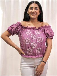 Batik Crop Top in Cotton & Schiffli