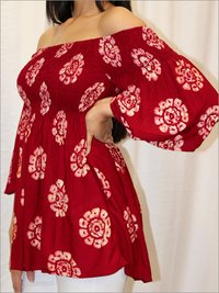 Batik Off Shoulder Blouse in Rayon