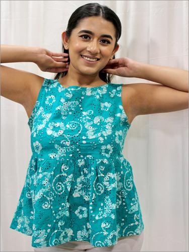 Batik Peplum Schiffli Blouse