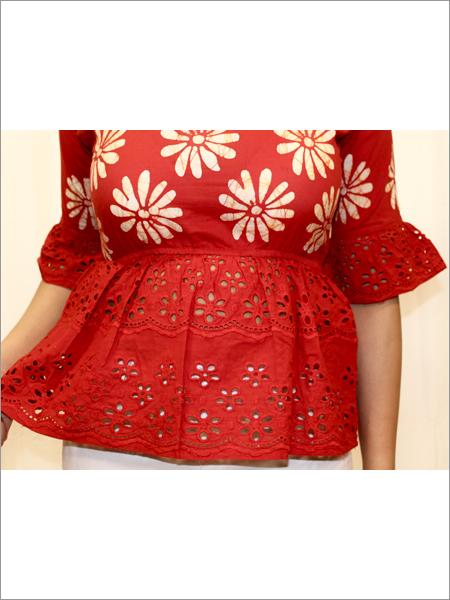 Batik Peplum Top in Cotton