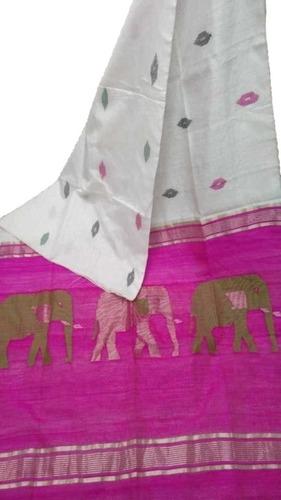 Elephant Design Cotton Silk Saree