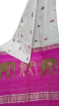 Elephant Design Cotton Silk Saree