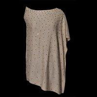 Wool Nylon Side Neck Embellished Poncho