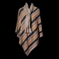 Wool Nylon Stripe Poncho