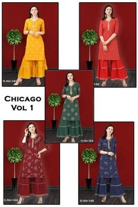 Chicago Vol -1 American Crep Printed Kurti With Sarara
