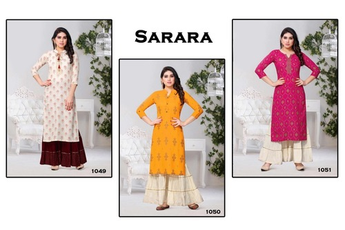Sarara - Rayon Cotton Kurti With Sarara
