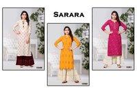 Sarara - Rayon Cotton Kurti With Sarara