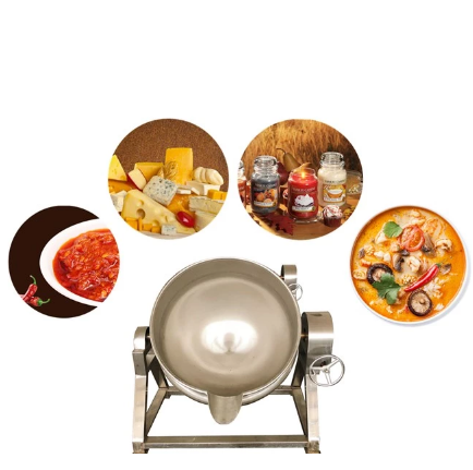 Food Grade Stainless Steel Tilting Pot Heating Mixing Industrial Cooker Jacket Cooking Kettle