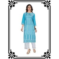 STRAIGHT PRINTED KURTI WITH PLAZZO