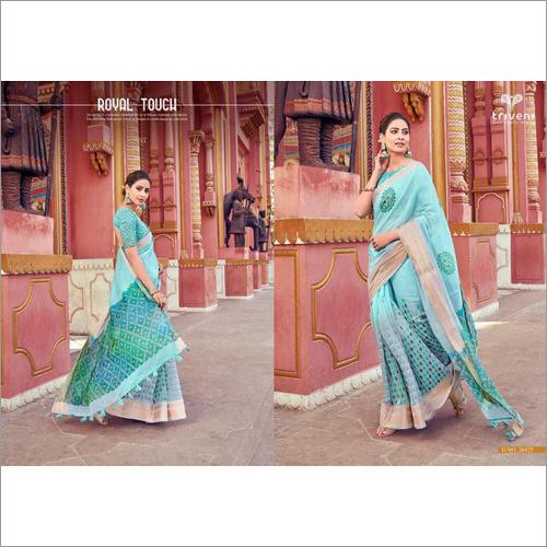 Designer Cotton Linen Saree