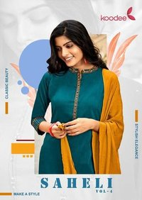 Saheli-4 Chinon Slub Kurti With Bottom Dupatta