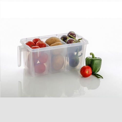 3 Section Clear Storage Organizer With Lid