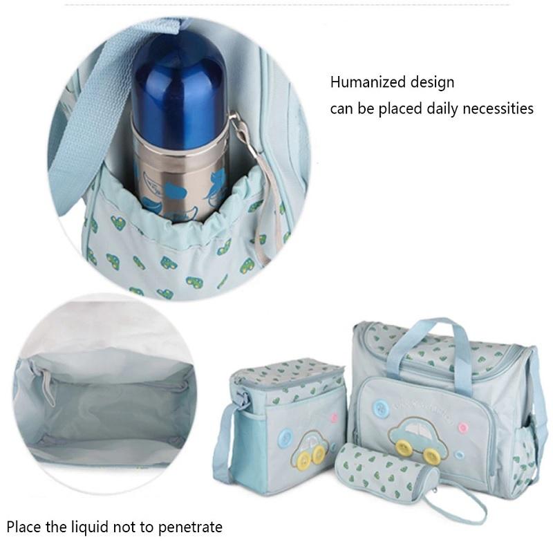 Mummy Picnic Tote Bag 4 Pcs Set - Light Blue