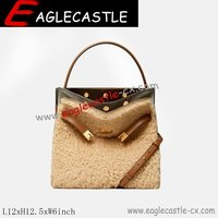 Faux Fur and Shearling Tote Lady Handbag / Women Handbag / Bags / Shoulder Handbag / Woolen Women Bags