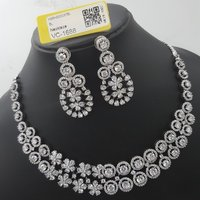 American diamond necklace set with earrings