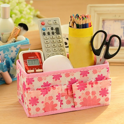 2 Pcs Mini Desktop Cosmetic & Stationary Organizer (Random Color)