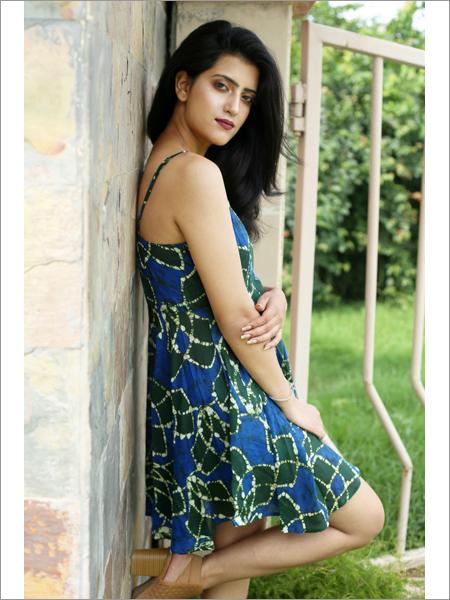 Batik Peplum Dress in Mehendi & Multi Blue