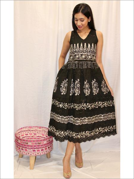 Batik Schiffli Dress in Cotton