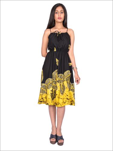Batik Strap Dress with Embroidery around Batik Motifs