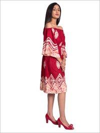 Batik Off Shoulder Dress With Embroidery