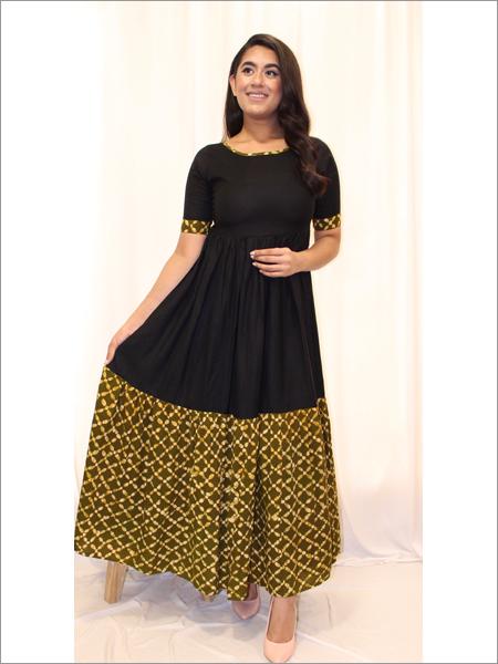 Maxi Dress with an Elegant Batik Flared Panel