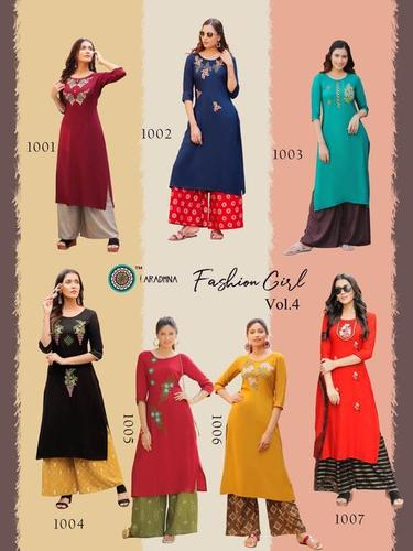 FASHION GIRL VOL 4 Heavy Rayon with Embroidery Work With Plazzo