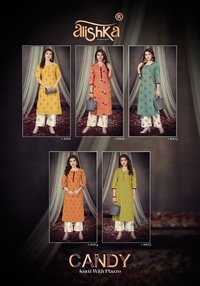 CANDY COTTON WITH HEAVY FOIL KURTI WITH PLAZZO